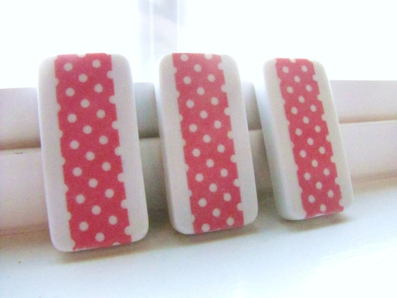 Magnets-Pink Polka Dot Set of 3 Baby Shower Party Favors Girl Girly Office Organization
