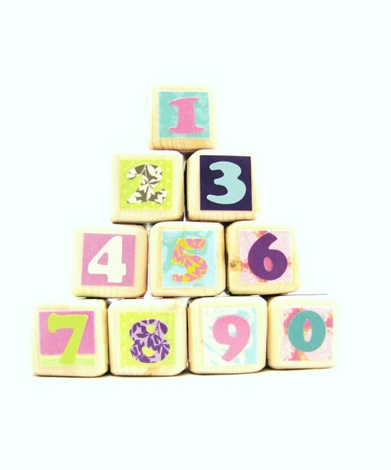 Baby Shower Decoration for Girls-Wood Number Blocks Photography Prop Baby Girl Nursery Decor and Toddler Toy