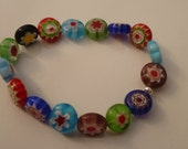 Bracelet made with millefiore glass beads small