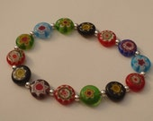 Bracelet made with millefiore glass beads