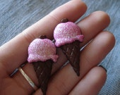Pink Ice Cream Cone Earrings