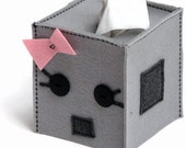 Girl Robot Tissue Box Cover - sockmonkeyfun
