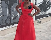 Red African print sleeveless gown - maxi dress