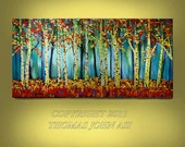 ORIGINAL PAINTING  24x48 Aspen Landscape Ready to Hang Abstract  By Thomas John