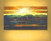 ORIGINAL  PAINTING  Green Mountain Sunset Landscape Large 24X48 Textured Impasto By Thomas John