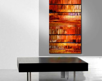 ORIGINAL ART Abstract Painting Red Acrylic Textured Large 48X24 Modern Wall Art By Thomas John