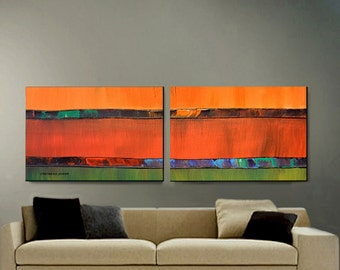 ORIGINAL PAINTING Large Abstract 2 Canvas 24X60 Modern Art By Thomas John