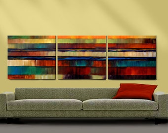ORIGINAL PAINTING 3 Canvas 30x72 Ready to Hang Abstract Art By Thomas John