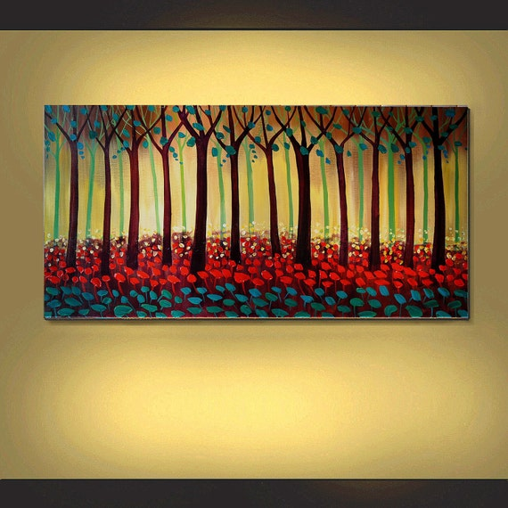 ORIGINAL PAINTING Modern Trees and Red Poppies Textured  Impasto Large Art 24x48 Fine Art By T. John