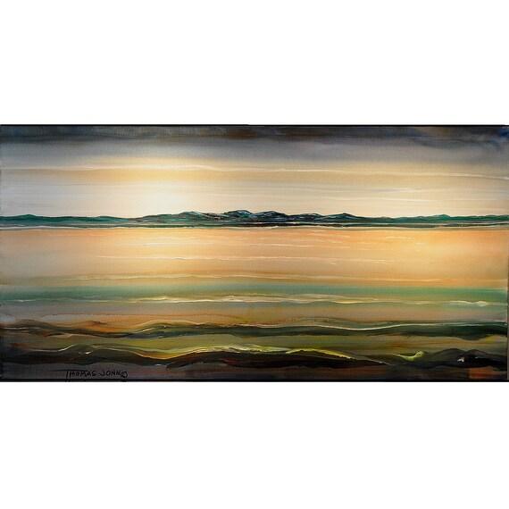 ORIGINAL PAINTING Abstract Large Art 24X48 Seascape Impasto Acrylic Handmade Art by Thomas John