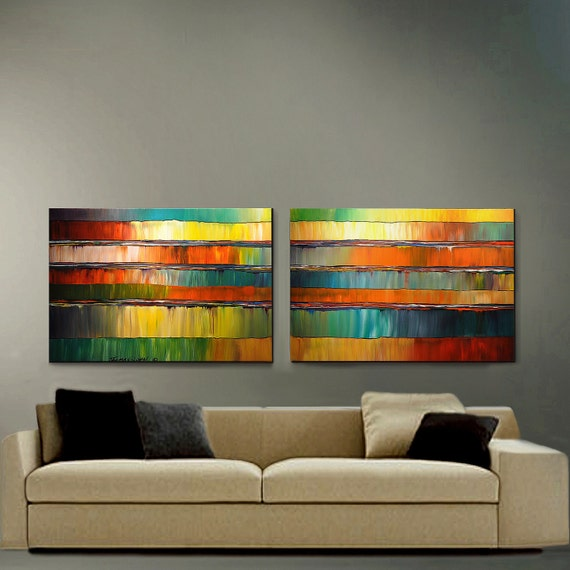 Original Painting Large 24X60 2 Canvas Impasto Diptych Ready to Hang By Thomas John