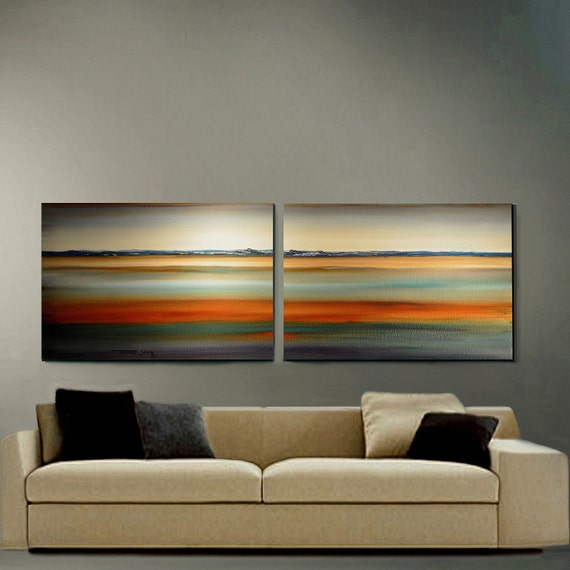 Original Painting 2 Canvas 24x60  Seascapee ready to hang Abstract Art By Thomas John