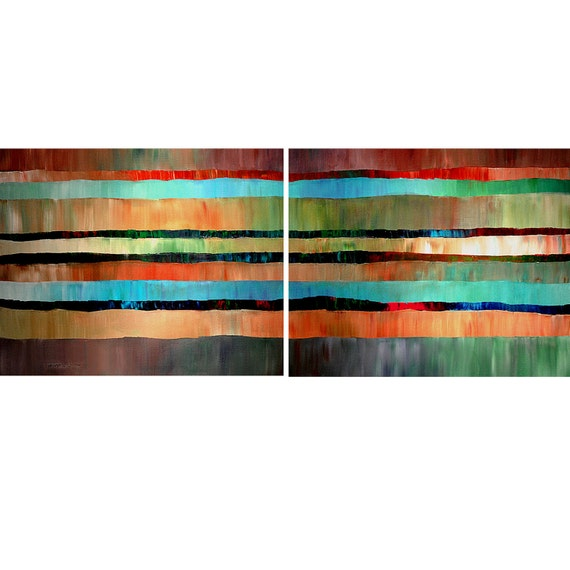 Original Painting Large Modern Abstract 2 Canvas 24X60 Impasto Wall Art and collectibles By Thomas John