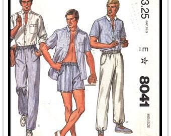 McCALL'S Pattern 8041 - Men's Van-Martin Designer Separates: Shirt, Pants, Shorts - Size 40 / Waist 34 - Vintage 1980s