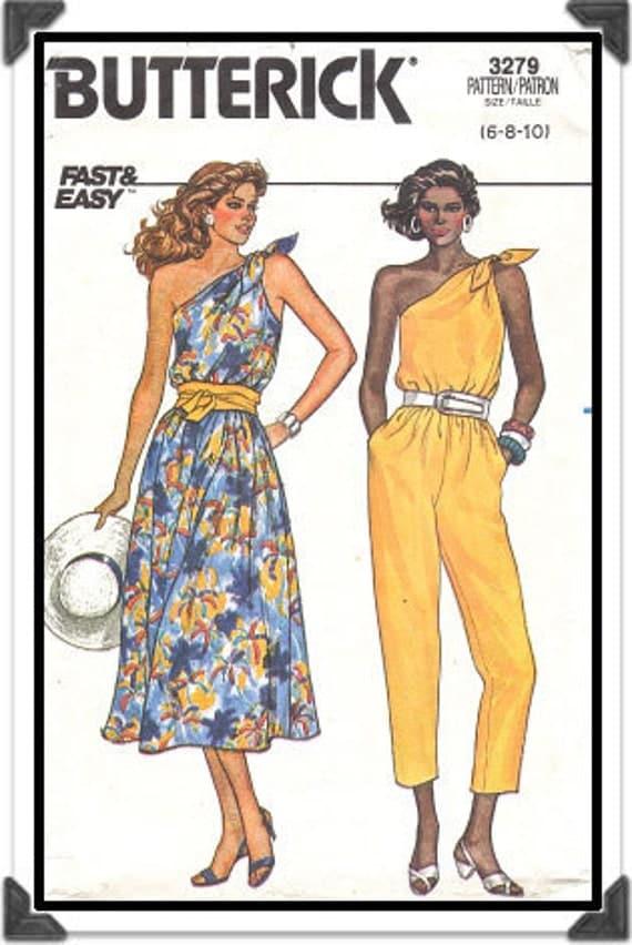 BUTTERICK Pattern 3279 - Misses' Tie-Shoulder One-Shoulder Dress or Jumpsuit - Size 6-8-10 - Uncut - Vintage 1980s