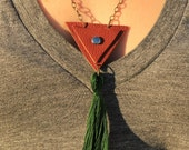 Double Triangle//Brown Leather//Hunter Green Tassel Necklace