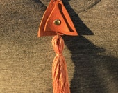 Double Triangle//Brown Leather/Nude Tassel Necklace