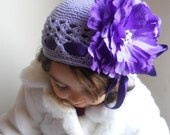 Kufi  lavander Crochet Toddler or Baby Hat with Purple Flower and rhinestone,Girl hat, infants Flower hat.