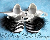 Zebra Baby Girl Crib Shoes, Baby Booties,Ready to ship.