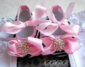 Zebra Baby Girl Pink Crib Shoes ,Baby booties,Girls shoes.