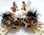 Leopard baby girl shoes,Booties -Baby Crib Shoes - Leopard  girl shoes.