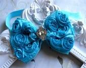 Vintage Inspired Baby Girl Turquoise Rosette Bow,Toddler ,Infant girl headband.