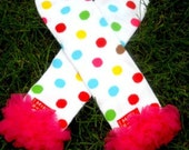 All leg warmers on SALE-polka dot Girls Leg Warmers hot pink ruffle Perfect for crawling baby.