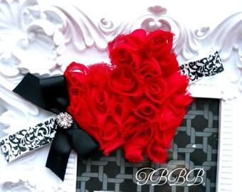 Baby Girl shabby red rosette heart  ,damask elastic headband,Baby Headbands..