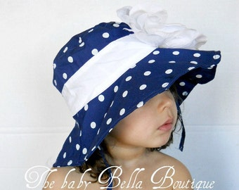 Toddler-Infants Baby Girl Sun Hat, Navy blue and white polka dot  flower sun hat ,polka dots hat.