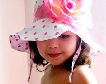 Toddler-Infants Baby Girl Sun Hat,White with pink polka dot,pink flower sun hat ,polka dots hat,ready to ship.