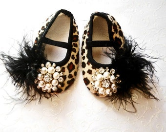 Glamour baby girl shoes,Booties -Baby Crib Shoes - Leopard Baby shoes.THE ORIGINALS.