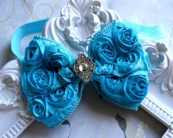 Vintage Inspired Baby Girl Turquoise Rosette Bow,Toddler ,Infant girl headband.