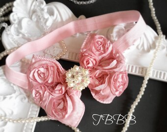Vintage,shabby Baby Girl pink Rosette Bow, elastic headband,Toddler ,Infant girl headband.
