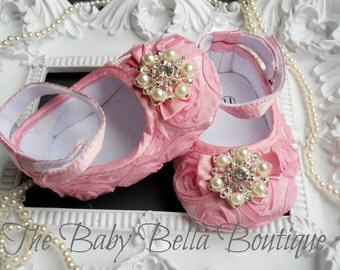 Baby Girl Pink  Satin Rosette Crib Shoes ,Baby Shoes,Christening, Baptism, Wedding, Ready to ship
