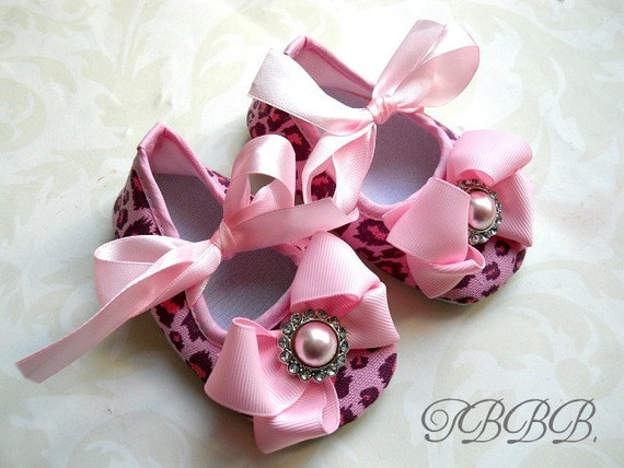 items similar to pink leopard print baby crib shoes