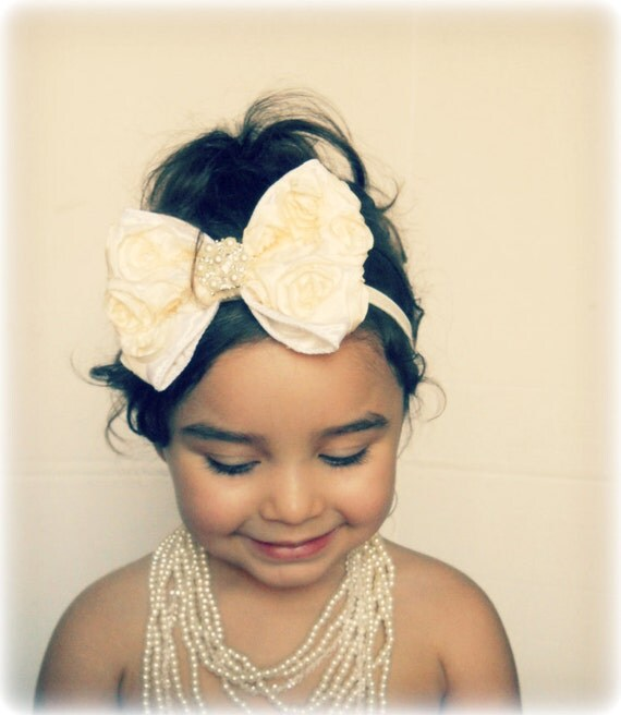 Vintage Inspired,shabby Baby Girl Ivory -Cream Rosette Bow, elastic headband,Toddler ,Infant ,girl headband.