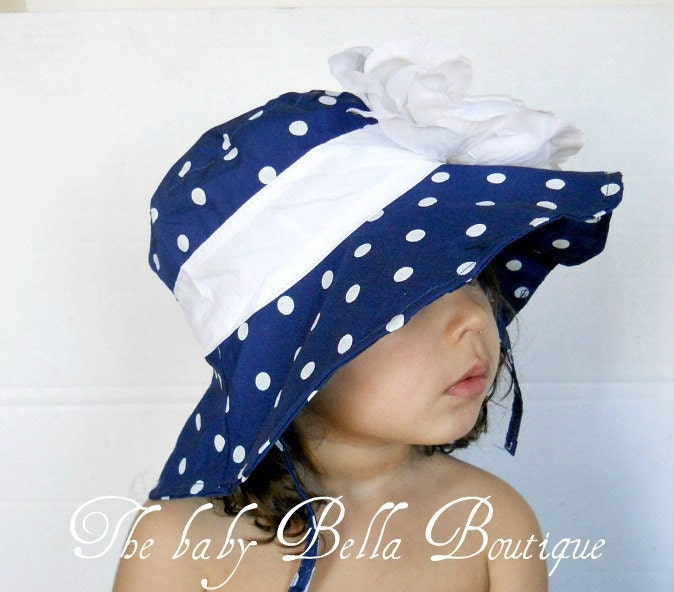 Toddler Infants Baby Girl Sun Hat Navy Thebabybellaboutique