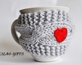 Mug Cozy with Red Heart, Coffee Mug Cozy, grey color, Cup Cosy, Mug Warmer knitted,valentines gift,Travel cup cozy,