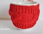 Mug Cozy Knitted in red, Cup Cosy, Mug Warmer, coffee tea mug cosy,,