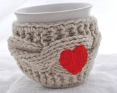 Red heart Cup Cozy, camel / oatmeal /  beige color, valentines gift, knitted mug cozy, mug warmer,Travel cup cozy,