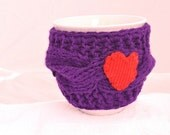Mug Cozy, purple color, valentines gift, knitted cozy cozy, mug warmer, Red heart, Travel cup cozy,