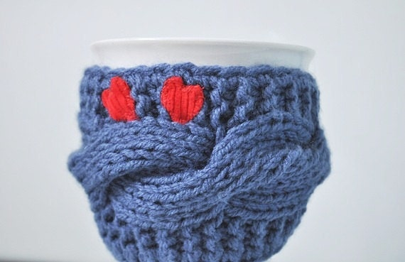 Knitted Mug Warmers Pattern : Items similar to Mug Cozy, Knitted Mug Warmer , Cup Cosy, travel cup cozy, pa...