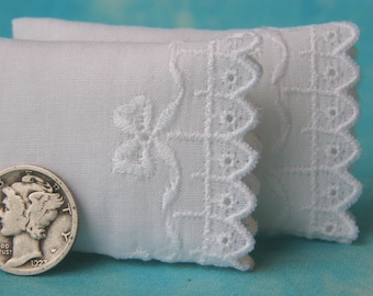 Miniature White Premium Pillows with Bows and Trellis Embroidery, set of 2 - 1:12 scale