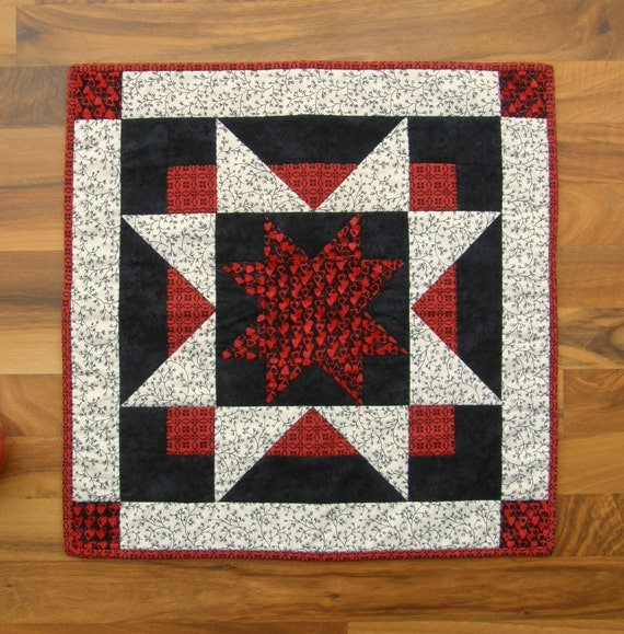 Quilted Table Topper in Red, White and Black Star