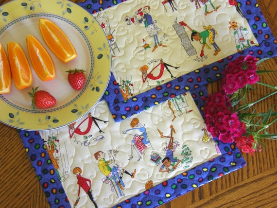 """Quilted Mug Rugs - Set of Two, """"Domestic Bliss"""""""