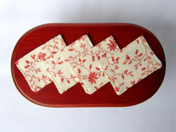 Dollhouse Miniature Reversible Placemats Set of 4, In 1:12 Scale - Light Red Shabby Chic Floral