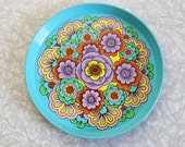 RESERVED for Samiam76 Aqua blue floral design round metal tray