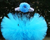 Petit Trésor Couture Tutu Turquoise Blue Tutu With Matching Flower Headband From The Sweet Sweet Couture Collection