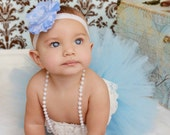 Baby Blue Couture Tutu With Matching Flower Headband From The Sweet Sweet Couture Collection