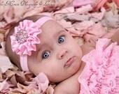 Pink Satin Rosette Headband With Rhinestone Embellishment Stunning Vintage Style Newborn Photo Prop
